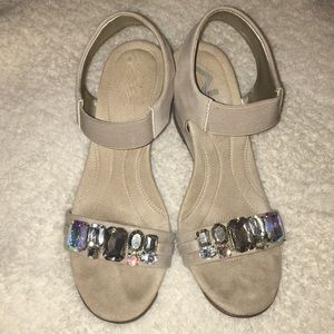 Anne Klein natural Larow wedge with crystals